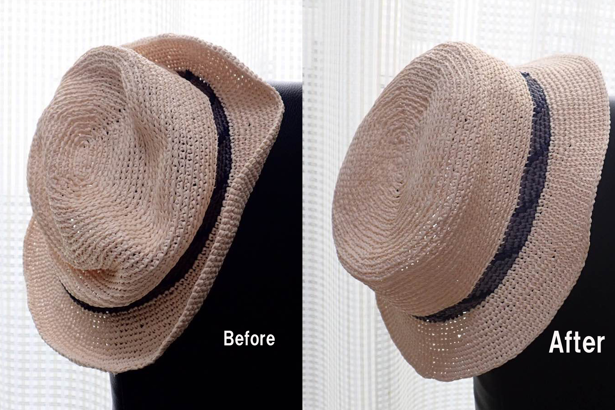 004 1 - 驚き!ぺしゃんこの帽子が簡単に復活!!一体どうやって!?