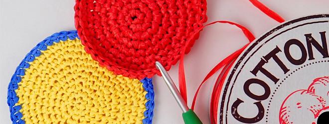 夏糸コットンラフィアで編むコースター