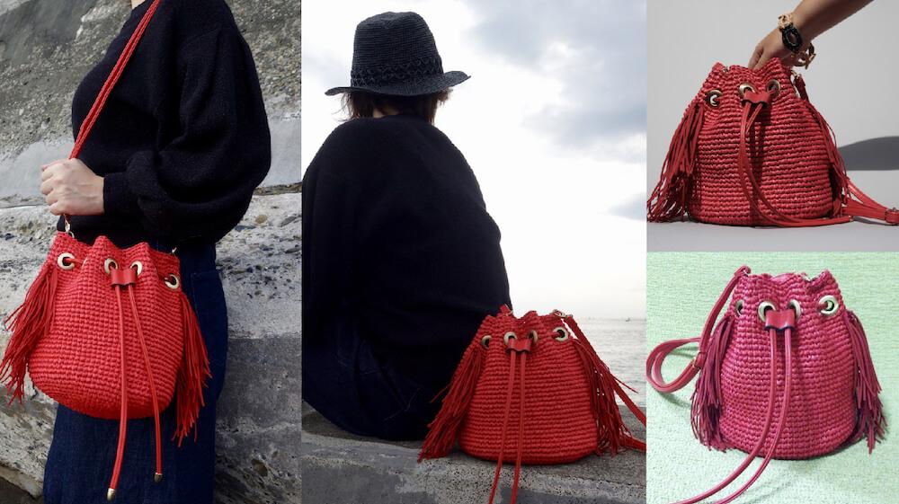 赤のフリンジ巾着