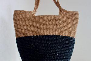 コットンラフィアのバイカラーバッグ